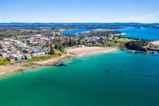 Yamba main beach and ocean pool bath aerial photograph on blue sky sunny day