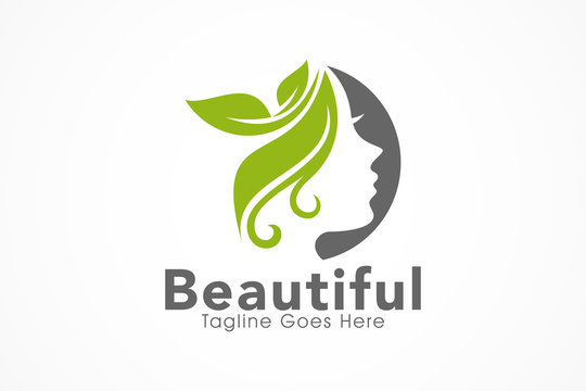 nature beauty salon logo girl face icon