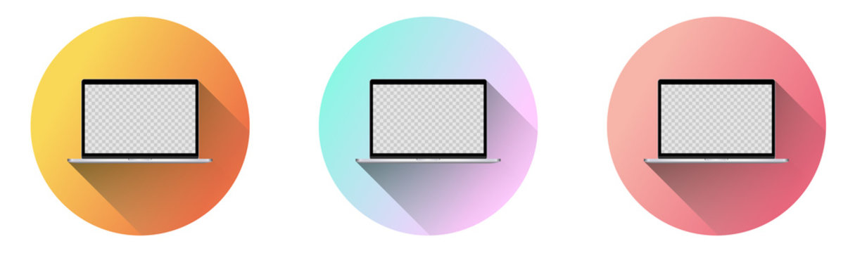 Set of 3 vector laptops, within gradient circles, with fading long shadow. TRANSPARENT hole in the laptop screen, for image.