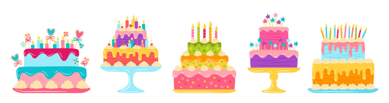 Birthday cakes flat set. Cartoon colorful delicious desserts. Party design elements, candles and chocolate slices, cream. Holiday party sweets pie. Vector illustration isolated on white background