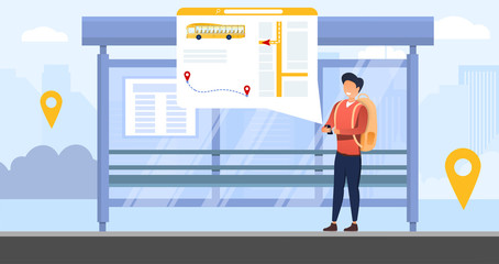 Bus tracking system with person waiting at at the bus stop tracking the vehicle on an online transport app, colored vector illustration