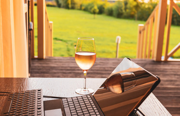 Glass of wine and laptop on the background of a green meadow