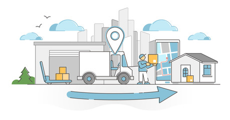 Delivery receiving process as transportation and shipping outline concept