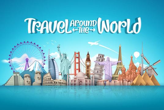 Travel around the world vector landmark design. Famous landmarks around the world elements with travel vacation text in blue background. Vector illustration.