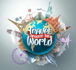Travel around the world vector landmarks design. Travel in famous tourism landmarks and world attractions elements and text in a 3d globe empty space. Vector illustration.