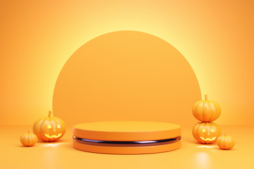 Podium and minimal abstract background for Halloween, 3d rendering geometric shape, Stage for product