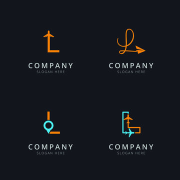 Initial L logo with travel elements in orange and blue color