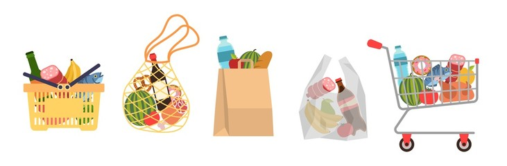 Shopping bags with foods. Grocery purchases, paper packages, plastic or eco bag, full trolley and basket with products. Buying food flat vector cartoon set