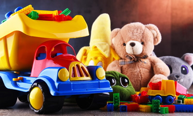 Colorful plastic and plush toys in a children's room