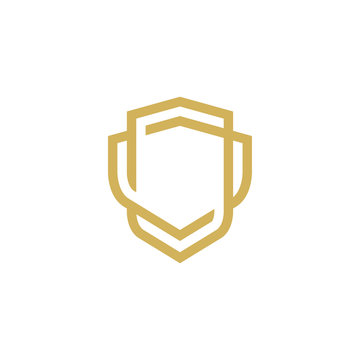 Modern Shield logo line art design template
