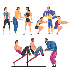 People Training in Gym Set, Men and Women Doing Physical Workout with Their Personal Trainers, Healthy Lifestyle Concept Cartoon Style Vector Illustration