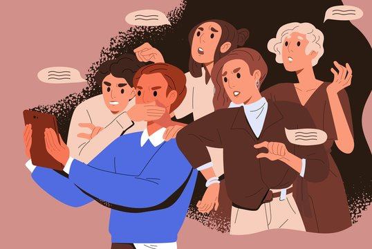 Bullying crowd of people who meddle, disturb and give unasked, unbidden advice. Woman shoves man with tablet. Concept of public meddlesome comment in media networks. Flat vector cartoon illustration