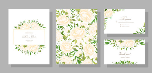 Botanical map with wild leaves. Set of wedding invitations with peonies, leaves and grass garlands with green foliage of exotic tropical plants. Vector graphics.