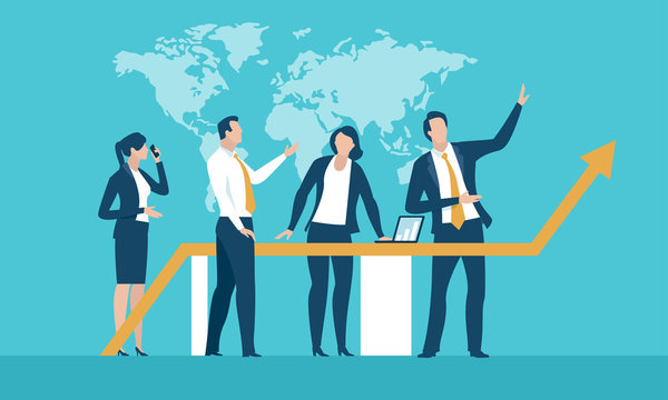 Strategy. Team discusses about business strategy. Vector illustration..