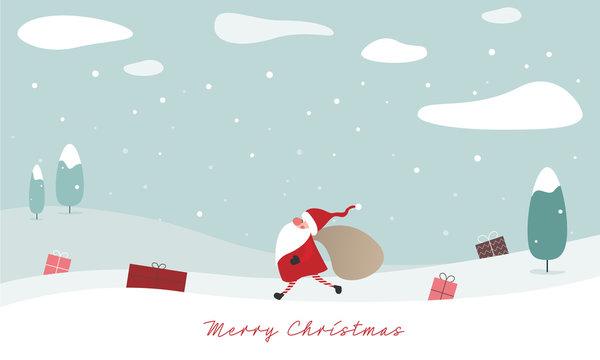 Merry Christmas - Geschenkkarte, Weihnachtswichtel schultert Jutesack mit Geschenken, Geschenke in der Winterlandschaft verteilt, Banner
