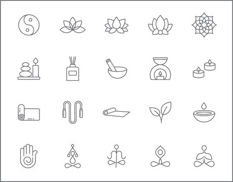 Set of yoga and spa icons line style. It contains such Icons as wellness, pose, beauty, peace, therapy and other elements.