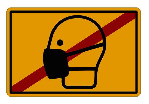 CORONA Schild Ortsende Schutzmaske