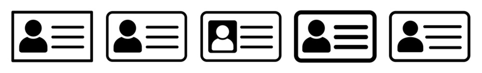 ID Card Icon Black | Driver's License Illustration | ID Badge Symbol | Identity Logo | Pass Passport Sign | Isolated | Variations