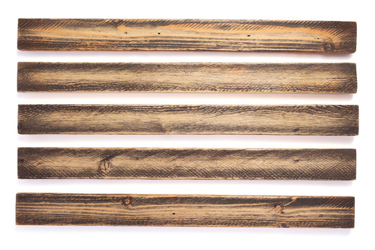 aged wooden board on white background