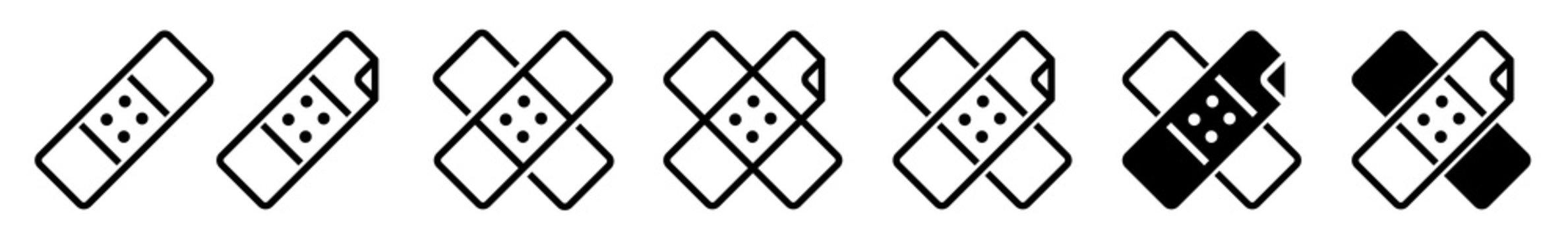 Band Aid Icon Black | Plaster Illustration | Wound Care Symbol | Injury Pain Logo | Injured Sign | Isolated | Variations