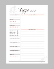 Recipe card printable template Vector. Meal planning and groceries list. Easily plan out of your weekly meals for breakfast, lunch, dinner and snacks.