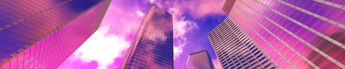 Wall Mural - Skyscrapers on the background of the sky bottom view, modern high-rise buildings, 3d rendering