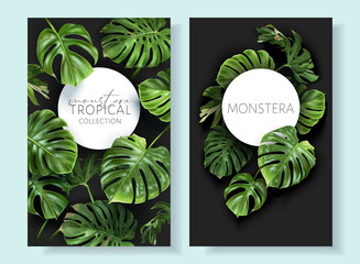 Vector tropical frames with green monstera leaves on black background. Luxury exotic botanical design for cosmetics, wedding invitation, summer banner, spa, perfume, beauty, travel, packaging design