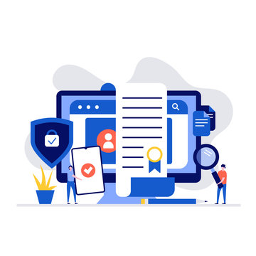 Cyber security and privacy policy concept with characters. Computer with firewall protection shield on screen. Modern vector illustration in flat style for landing page, mobile app, hero images.