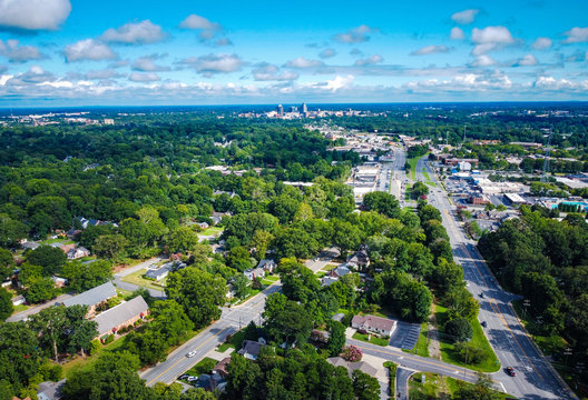 High angle shot of Greensboro on a partly cloudy day