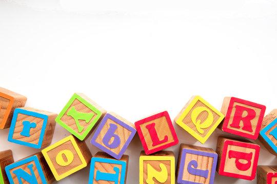 Colourful wooden ABC alphabet baby development blocks