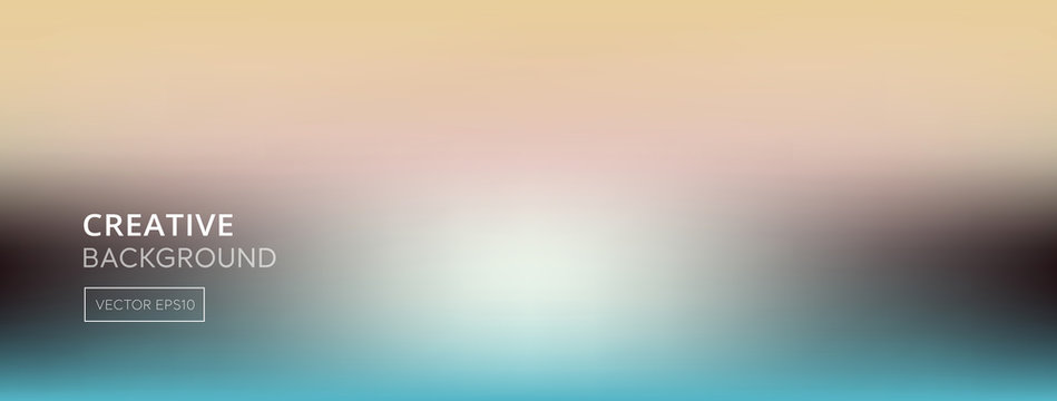 Blurred gradient abstract beidge and turquoise color banner background