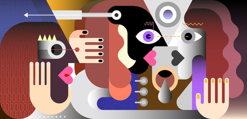 A man and a woman looking each other in the eyes and one person is watching them. Modern art graphic illustration.
