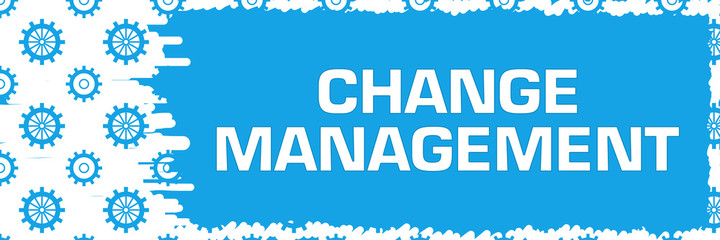 Change Management Blue Gears Scratch Background Horizontal