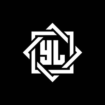 YL monogram logo with abstract square around