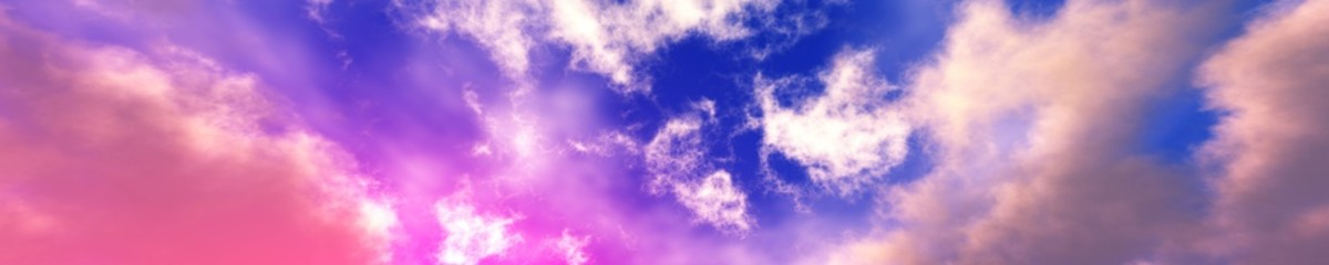 Panorama of the sky with clouds, beautiful clouds against the blue sky, 3D rendering