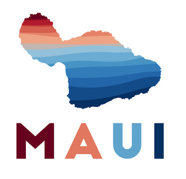 Maui map. Map of the island with beautiful geometric waves in red blue colors. Vivid Maui shape. Vector illustration.