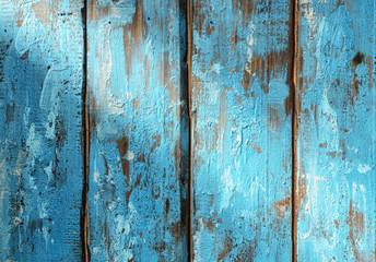 Photo sur Aluminium Texture de bois de chauffage Blue Rustic Wooden Surface with Ray of Light - Top View