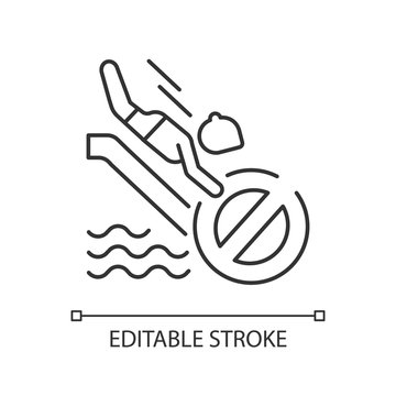 No head down sliding linear icon. Water park security, safety rule for waterslide attractions. Thin line customizable illustration. Contour symbol. Vector isolated outline drawing. Editable strokes