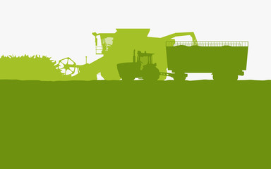 green color farm vehicles silhouettes side view
