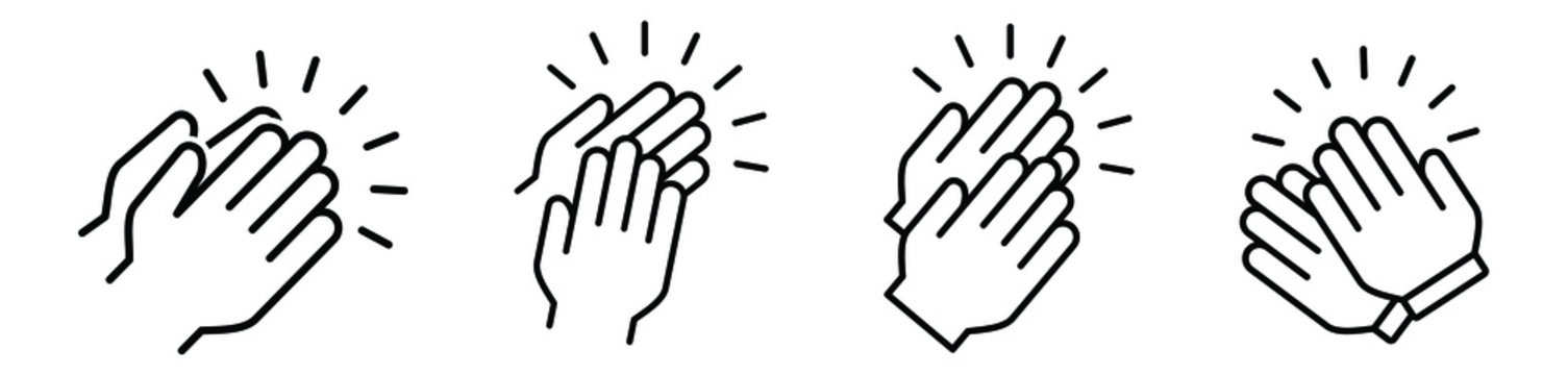 Applause audience icon. Clap, plaudits, standing ovation symbol. flat hands clapping icons. High five signs. Vector human language sign. compliment day. Bravo congratulation, congrats. Cheer hands up