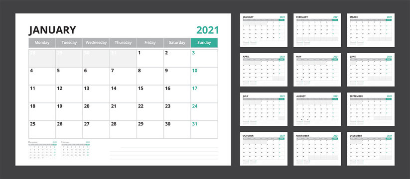 2021 calendar planner set for template corporate design week start on Monday.