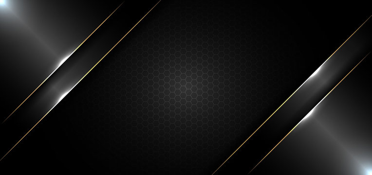 Abstract banner design template black glossy with gold line and lighting effect on dark background and texture