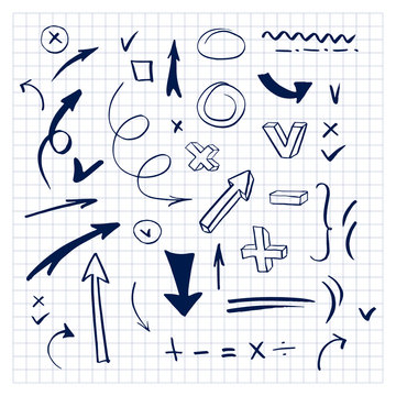 Elements for design. Set of doodle signs and symbols. Collection of arrows and punctuation marks. Hand drawn vector illustration