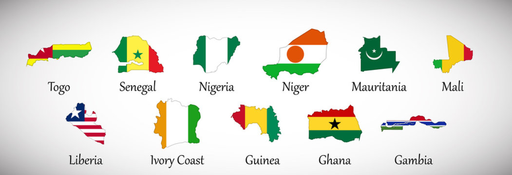 Set of West Africa country maps with flags isolated on gray background, vector illustration