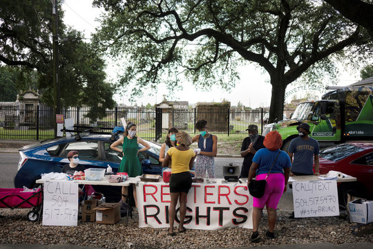 The Jane Place Neighborhood Sustainability Initiative holds a Renters Rights Assembly action near a Metrowide Apartments complex, in New Orleans
