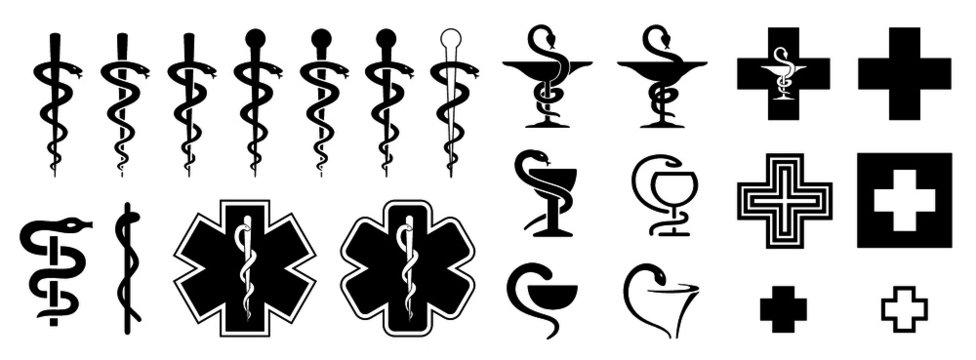 Medical symbol of the emergency star of life icons Funny vector caduceus signs Doctor esculaap icon Drugstor Ppharmacy pharma sign Aesculapius or asclepius Snake staff plus medic cup Health store shop