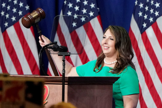 Republican National Committee Chairwoman, Ronna McDaniel, gavels the call-to-order at the opening of the first day of the Republican National Convention, in Charlotte