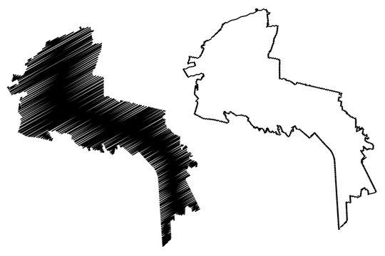 San Luis Potosi City (United Mexican States, Mexico, San Luis Potosi State) map vector illustration, scribble sketch City of SLP or San Luis map