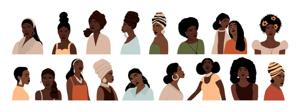 Set of abstract african american woman portraits isolated on white background. Modern young feminine woman with dark skin fashion minimal trendy people face flat style. Vector hand drawn illustration