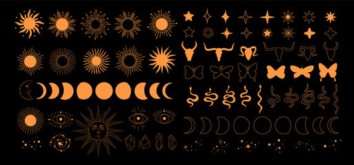Obraz Set of alchemy esoteric mystical magic celestial icons, sun, moon phases, stars, sacred geometry isolated. Spiritual animals butterfly, snake, skull of bull occultism. Vector illustrations outline - fototapety do salonu